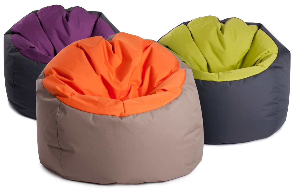 Pouf geant bowly bicolore super confortable jumbo bag for Pouf geant exterieur