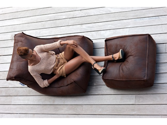 fauteuil pouf geant blues avec repose pieds jumbo bag so nuit. Black Bedroom Furniture Sets. Home Design Ideas