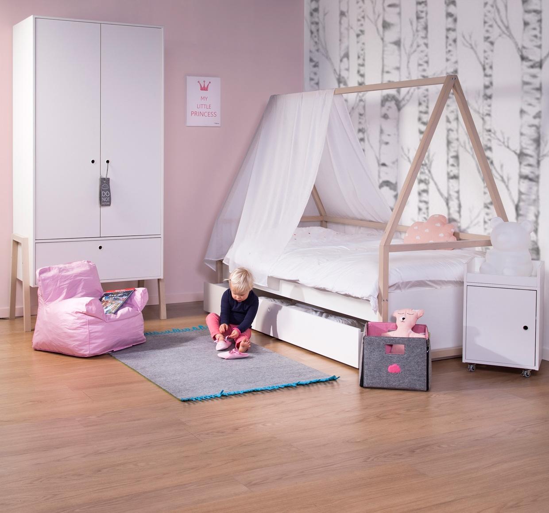 Armoire 2 portes 1 tiroir Nordic Acacia blanc - CHILDWOOD