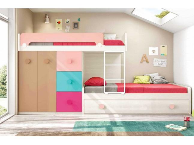 Lits superposés enfant avec lit gigogne composition L201-2 - GLICERIO