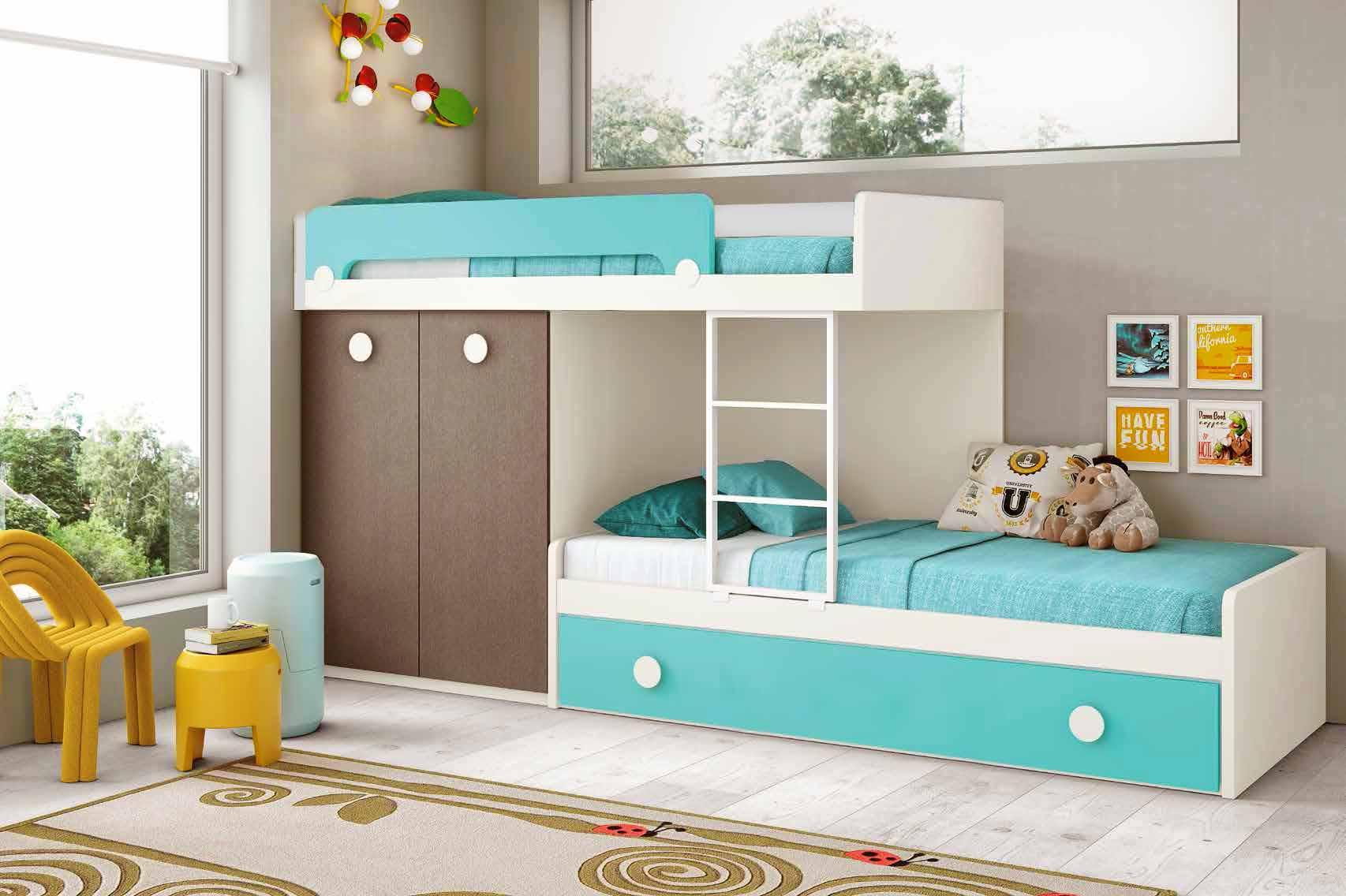 Lit superposé enfant avec lit gigogne composition L203-1 - GLICERIO