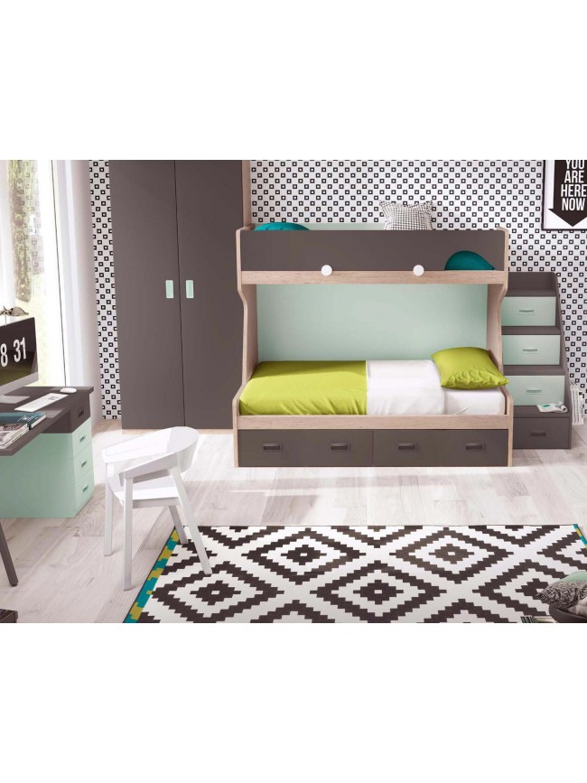 lit superpos enfant et escalier personnalisable. Black Bedroom Furniture Sets. Home Design Ideas
