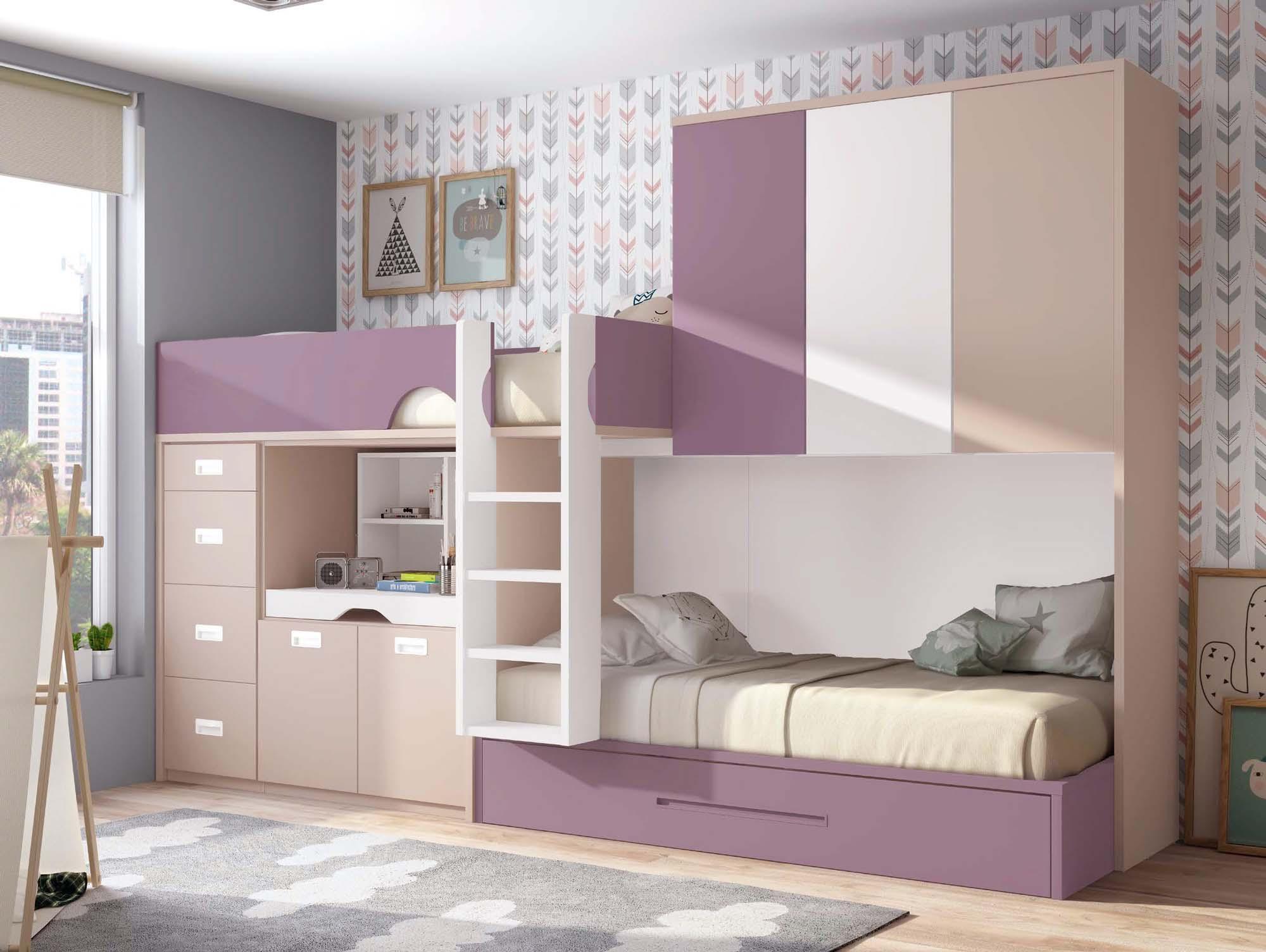 Chambre avec lit superposé fille et lit gigogne PERSONNALISABLE F262 - GLICERIO