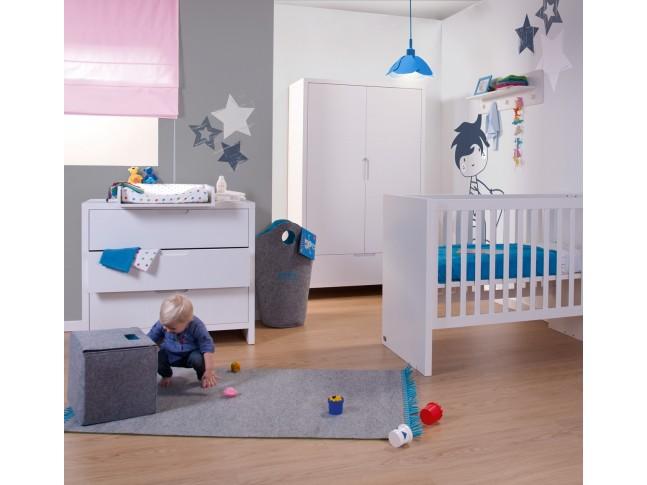 Armoire 2 portes 1 tiroir Quadro blanc - CHILDWOOD