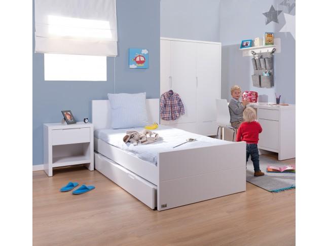 Armoire 3 portes 2 tiroirs Quadro blanc - CHILDWOOD