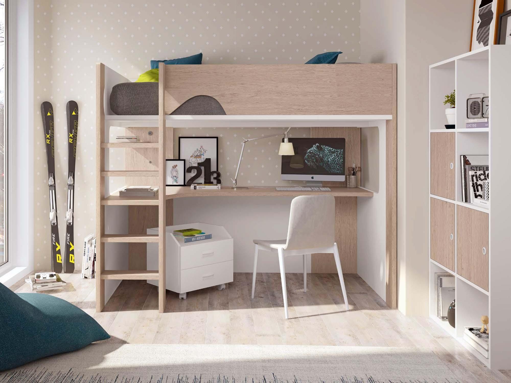 Lit mezzanine pour enfant mi hauteur avec bureau