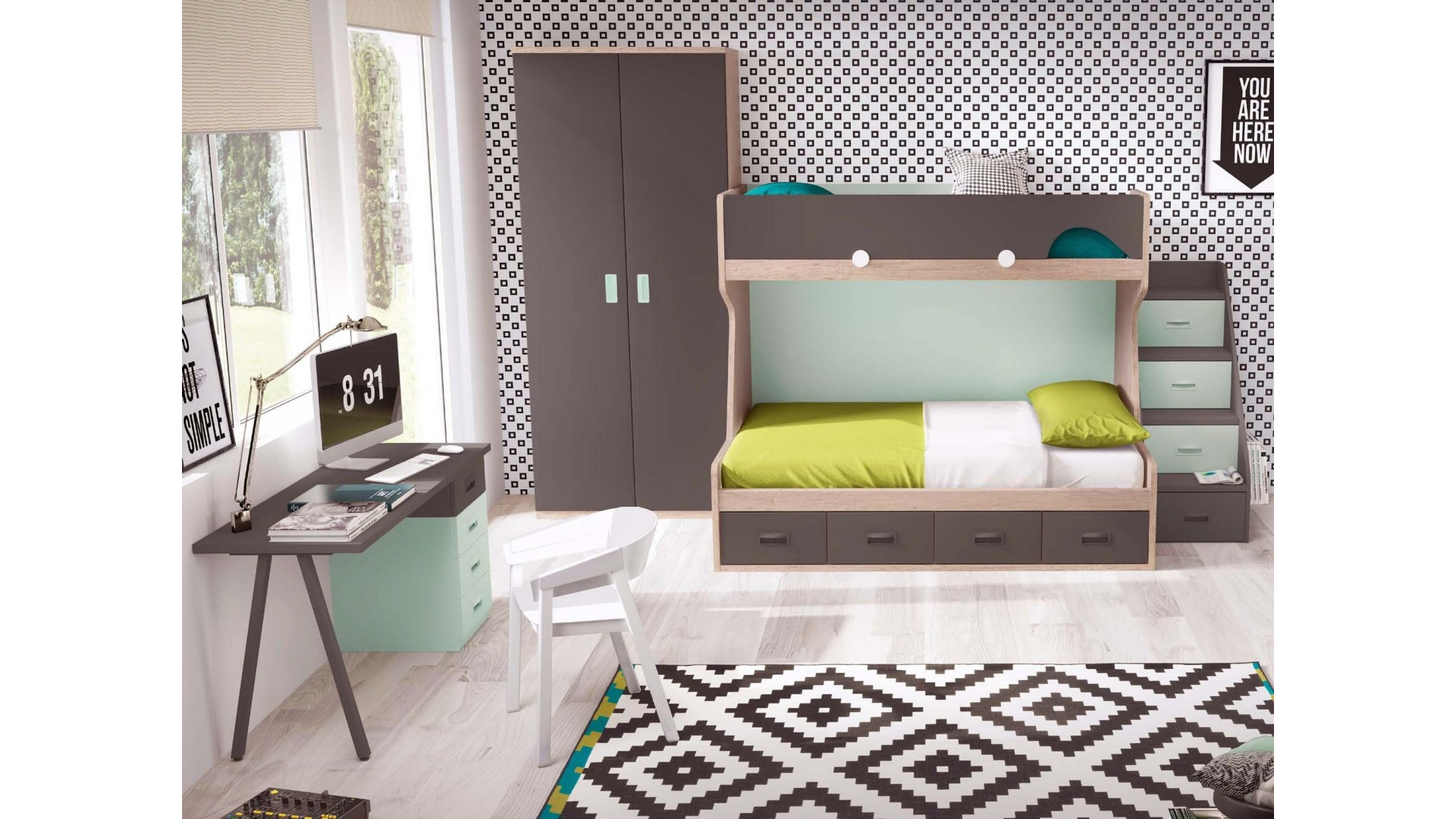 lit enfant superpos avec bureau moderne glicerio so nuit. Black Bedroom Furniture Sets. Home Design Ideas