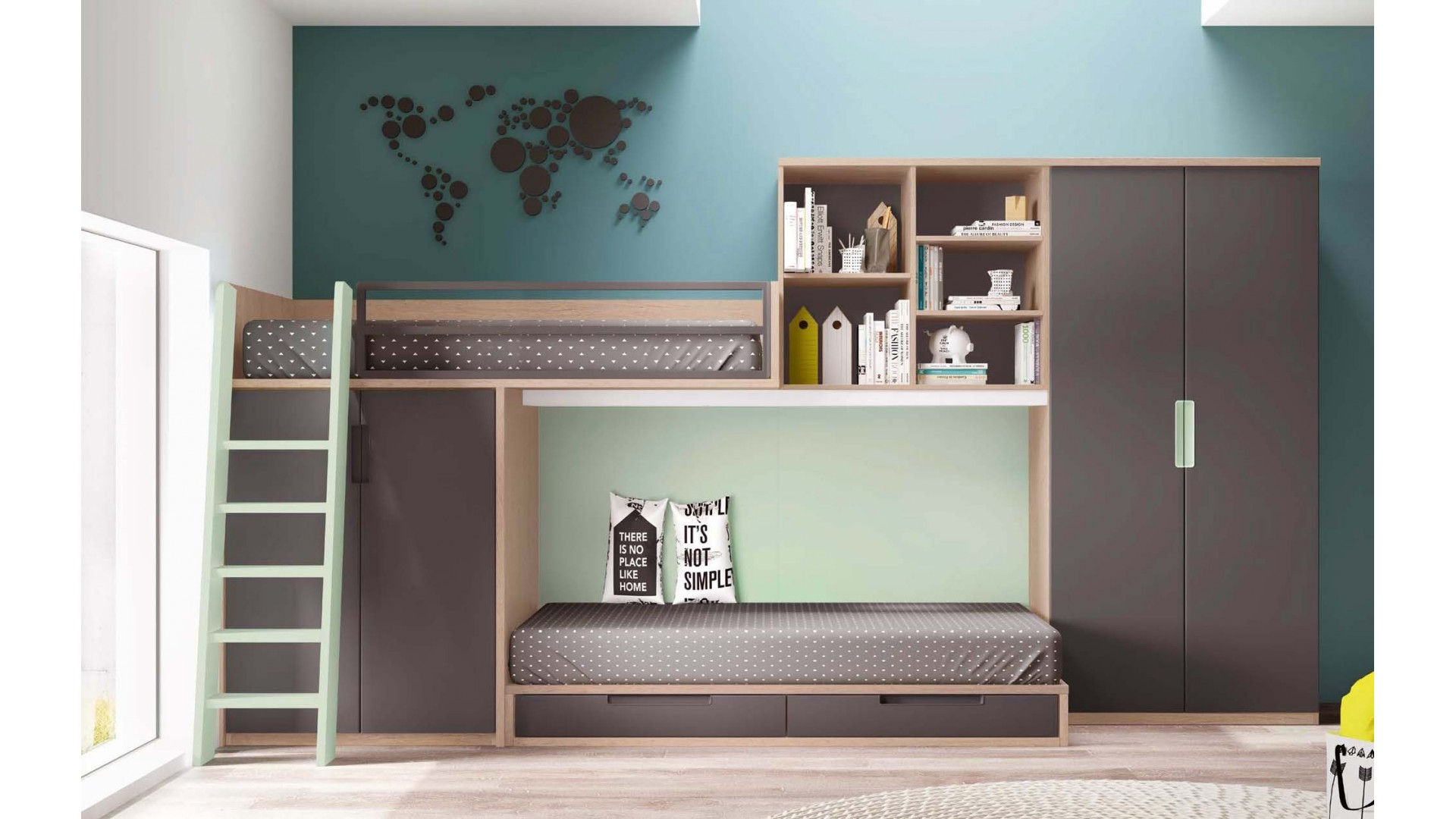 lit superpose avec canape maison design. Black Bedroom Furniture Sets. Home Design Ideas