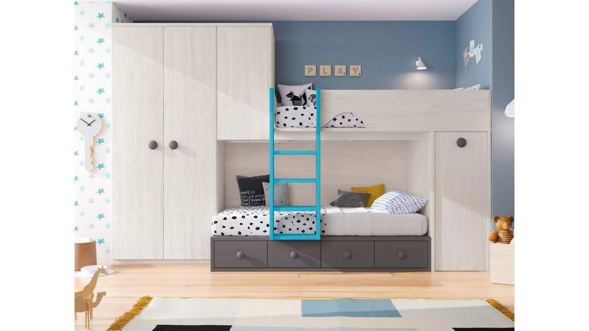 lits superpos s avec rangements design glicerio so nuit. Black Bedroom Furniture Sets. Home Design Ideas
