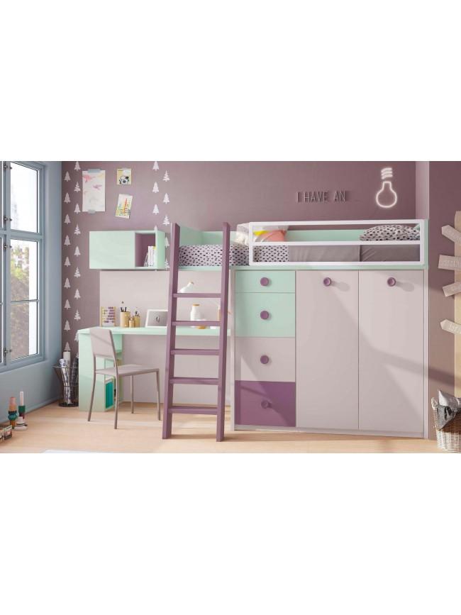 Lit mezzanine avec bureau integre lit mezzanine avec - Bureau pour lit mezzanine ...