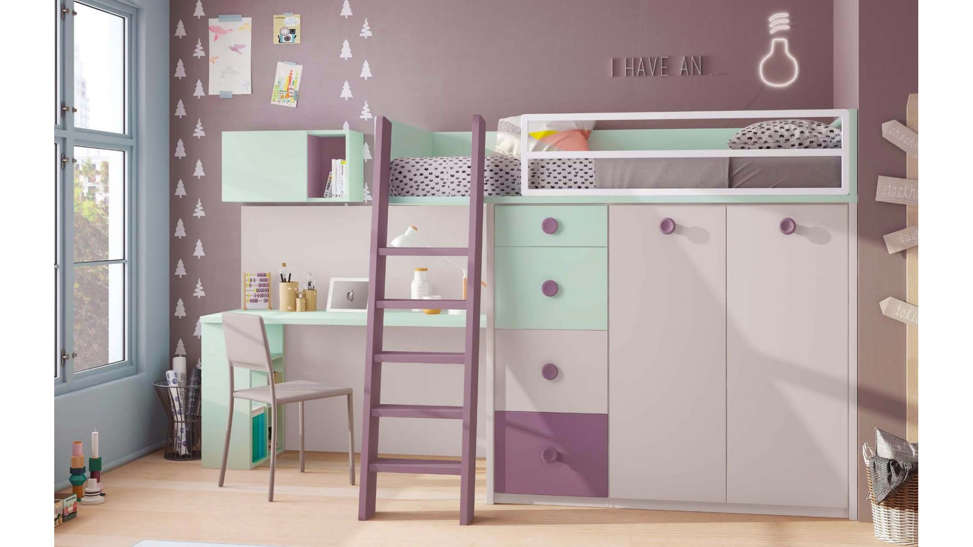 lit mezzanine enfant compact color avec bureau glicerio so nuit. Black Bedroom Furniture Sets. Home Design Ideas