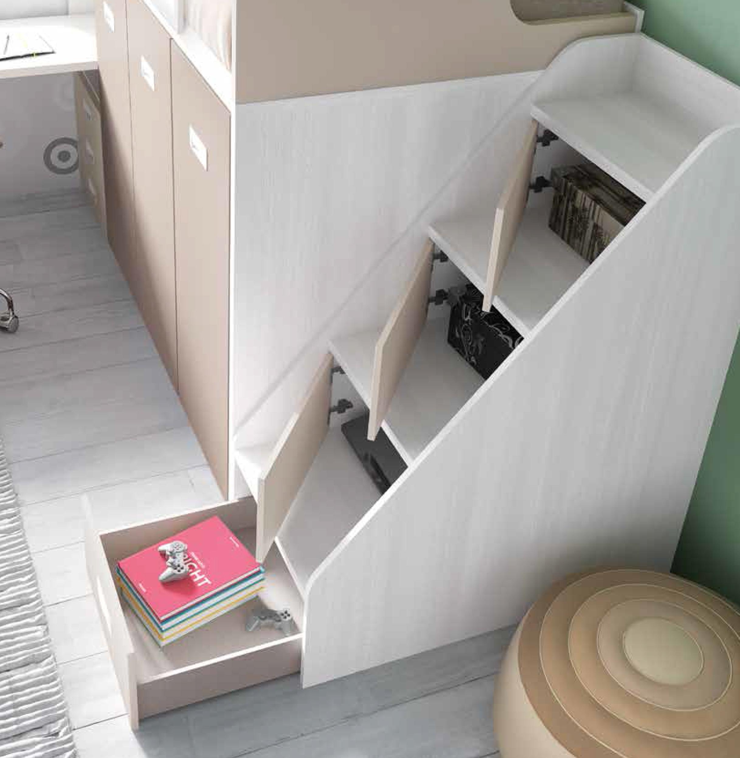 Lit Superposé Marche Escalier lit superposé escalier et grand rangement enfant - glicerio