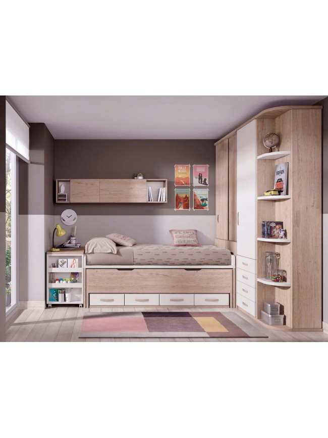 chambre moderne ado avec lit gigogne glicerio so nuit. Black Bedroom Furniture Sets. Home Design Ideas