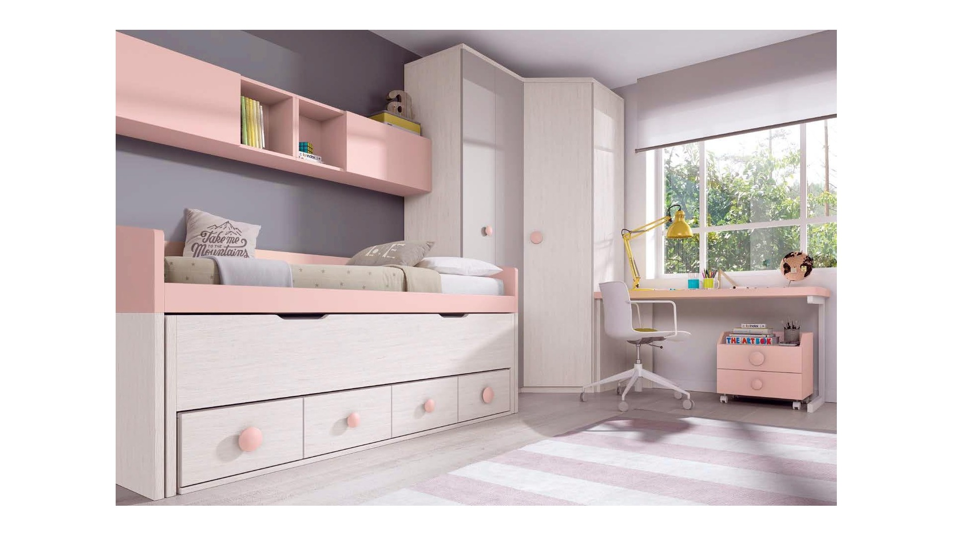 lit gigogne fille rose avec rangements glicerio so nuit. Black Bedroom Furniture Sets. Home Design Ideas