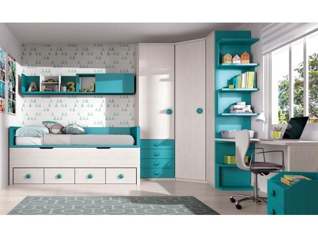 Chambre enfant complete avec bureau PERSONNALISABLE F009- GLICERIO
