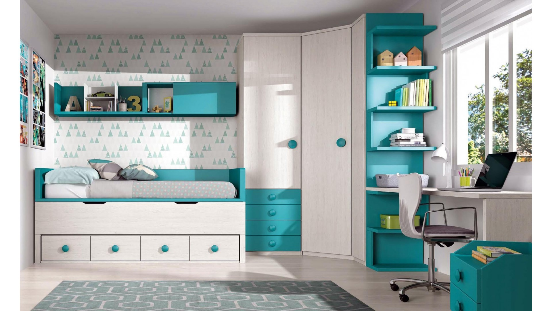 chambre enfant complete avec bureau glicerio so nuit. Black Bedroom Furniture Sets. Home Design Ideas