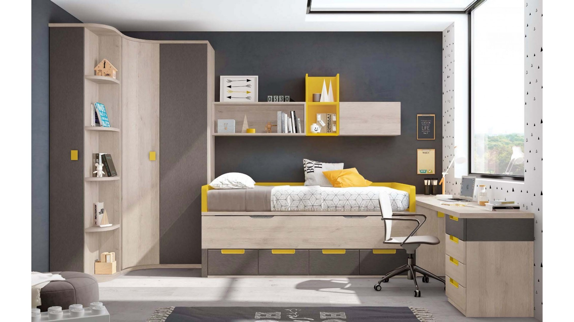 chambre enfant garcon avec lit sur lev glicerio so nuit. Black Bedroom Furniture Sets. Home Design Ideas