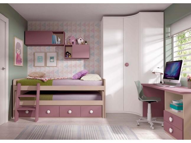 Chambre enfant fille PERSONNALISABLE F014 - GLICERIO