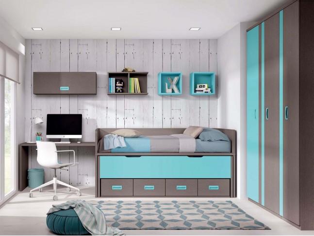 Chambre ado avec lit gigogne PERSONNALISABLE F015 - GLICERIO