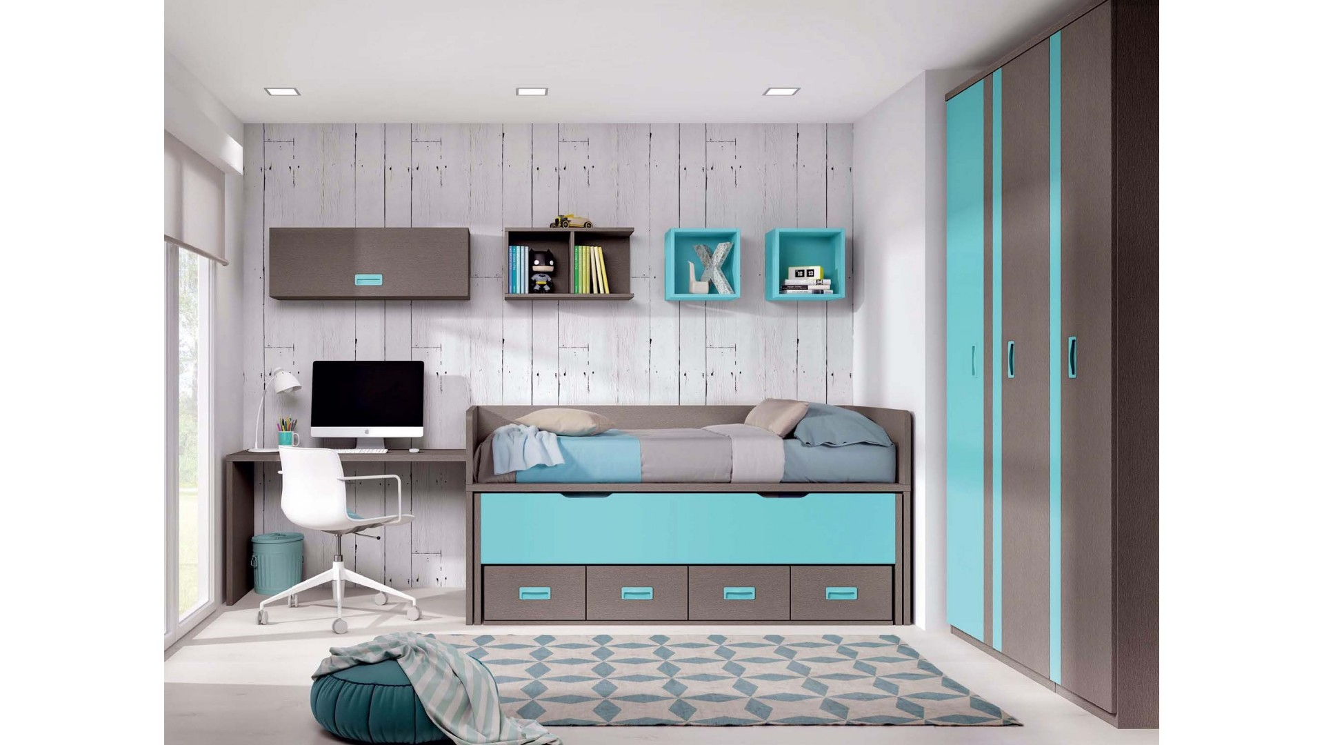 chambre ado avec bureau tendance et fun glicerio so nuit. Black Bedroom Furniture Sets. Home Design Ideas