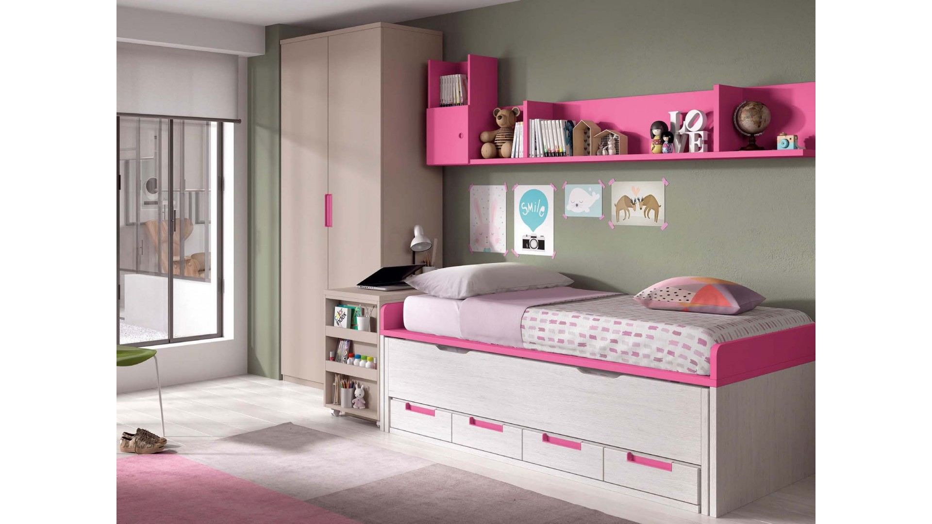 lit sur lev fille glicerio so nuit. Black Bedroom Furniture Sets. Home Design Ideas