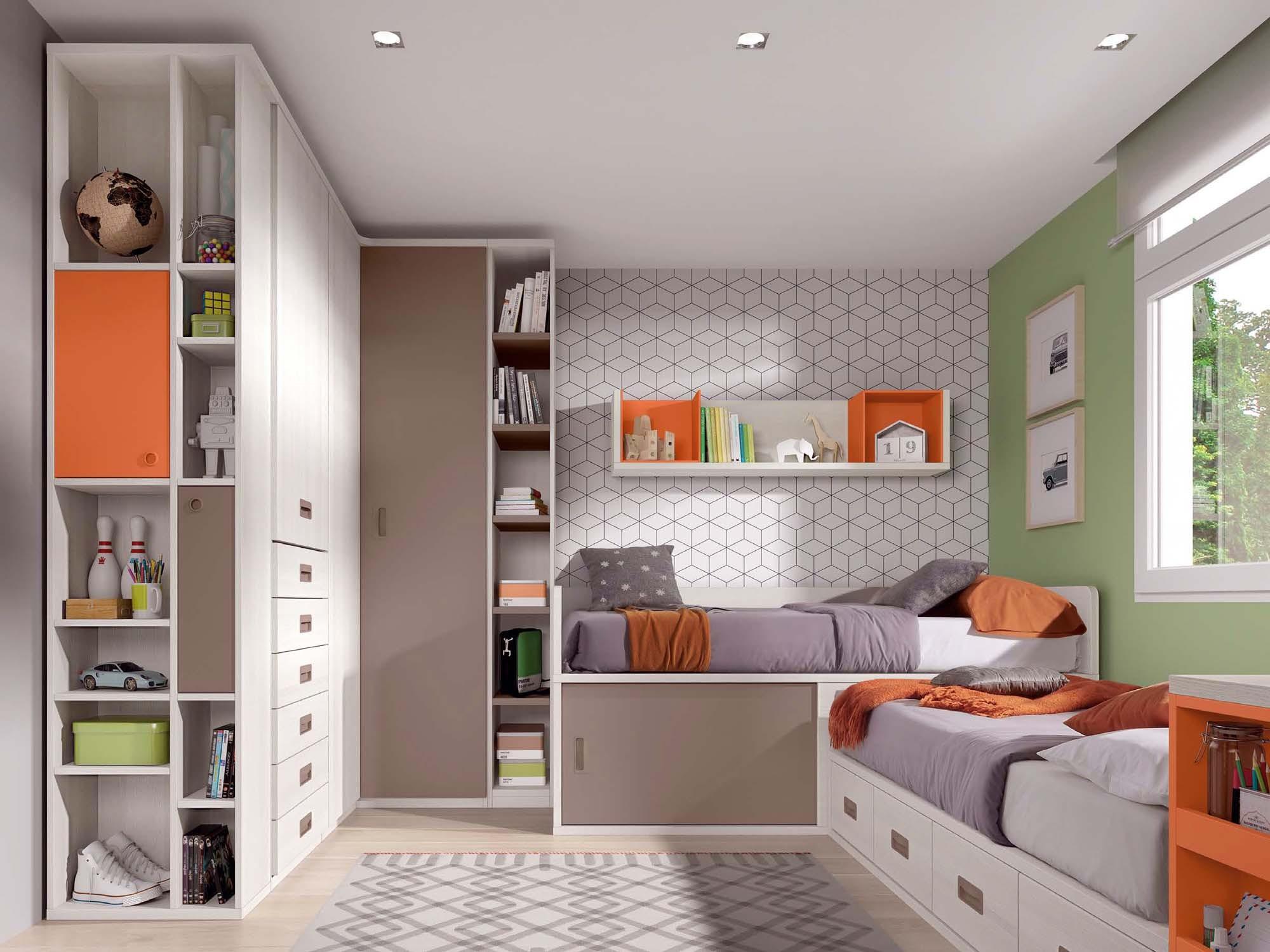 lits jumeaux d 39 angle avec rangements glicerio so nuit. Black Bedroom Furniture Sets. Home Design Ideas