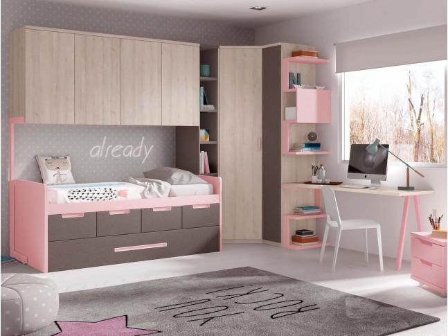 Chambre fille avec lit gigogne & 4 coffres de rangement PERSONNALISABLE F028 - GLICERIO
