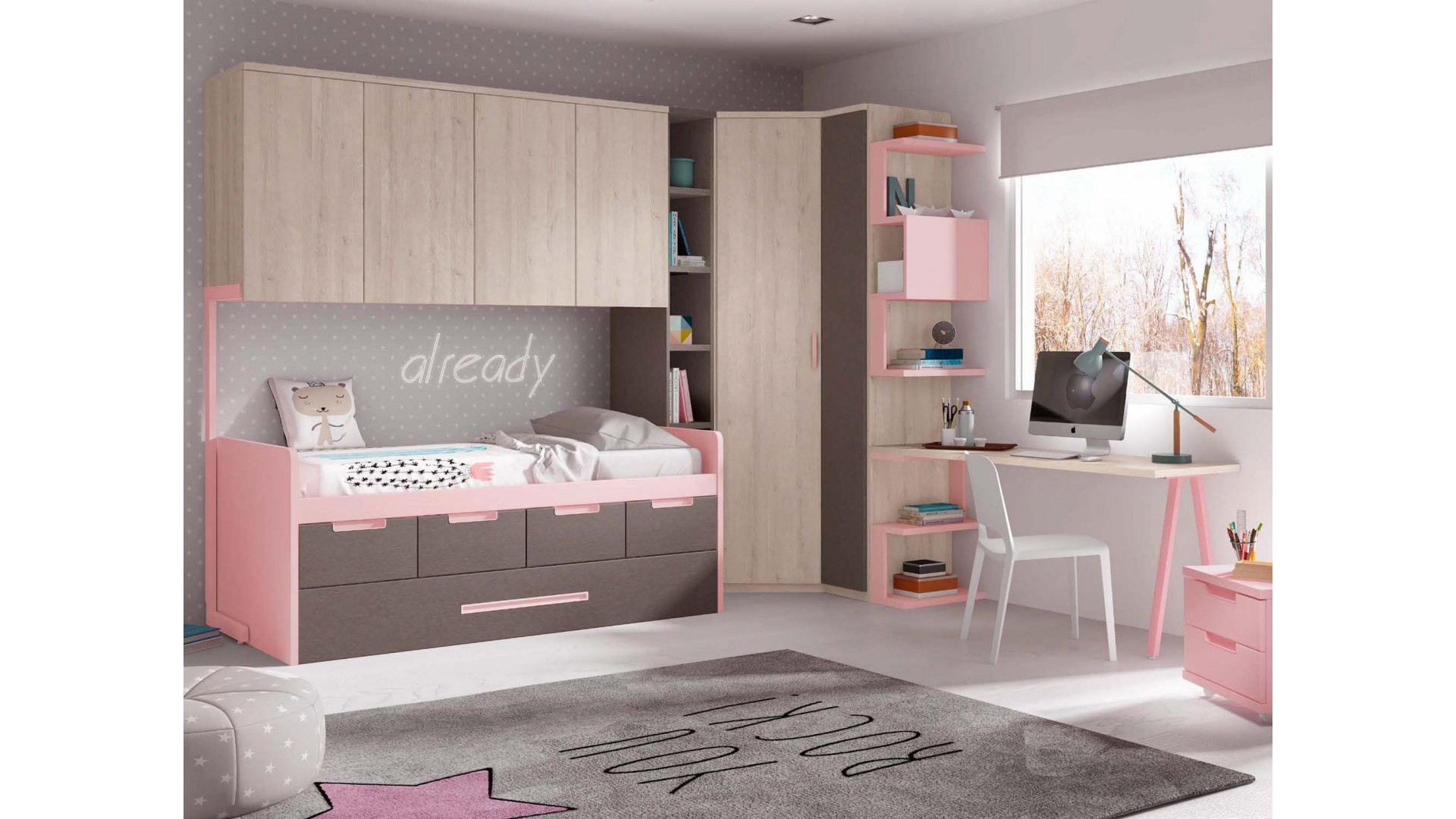 chambre fille avec lit gigogne compacte glicerio so nuit. Black Bedroom Furniture Sets. Home Design Ideas