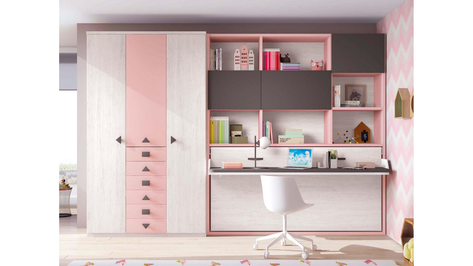 lit escamotable enfant avec bureau glicerio so nuit. Black Bedroom Furniture Sets. Home Design Ideas