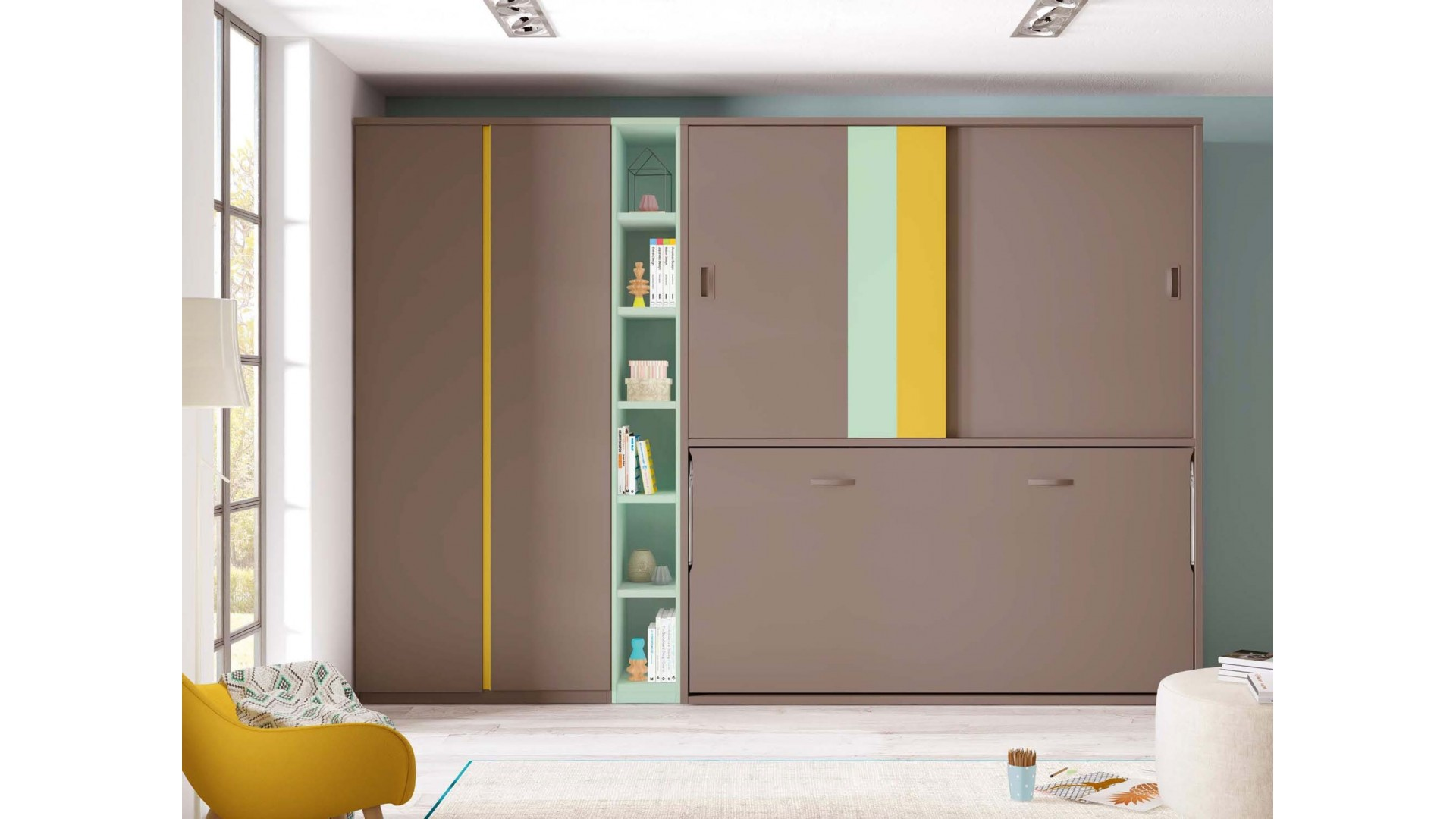 armoire lit escamotable avec bureau glicerio so nuit. Black Bedroom Furniture Sets. Home Design Ideas