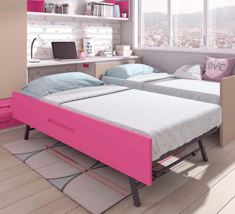 Chambre Fille Lit Gigogne : Chambre enfant fille avec lit gigogne glicerio so nuit