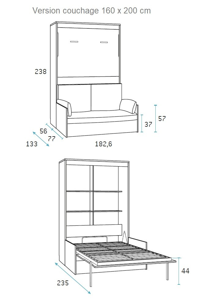 lit escamotable 2 personnes avec canap glicerio so nuit. Black Bedroom Furniture Sets. Home Design Ideas