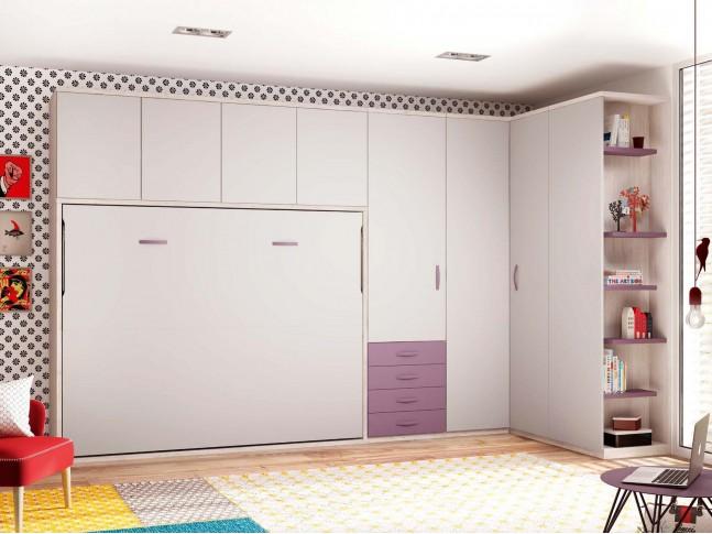 Lit armoire avec rangement PERSONNALISABLE F413 - GLICERIO