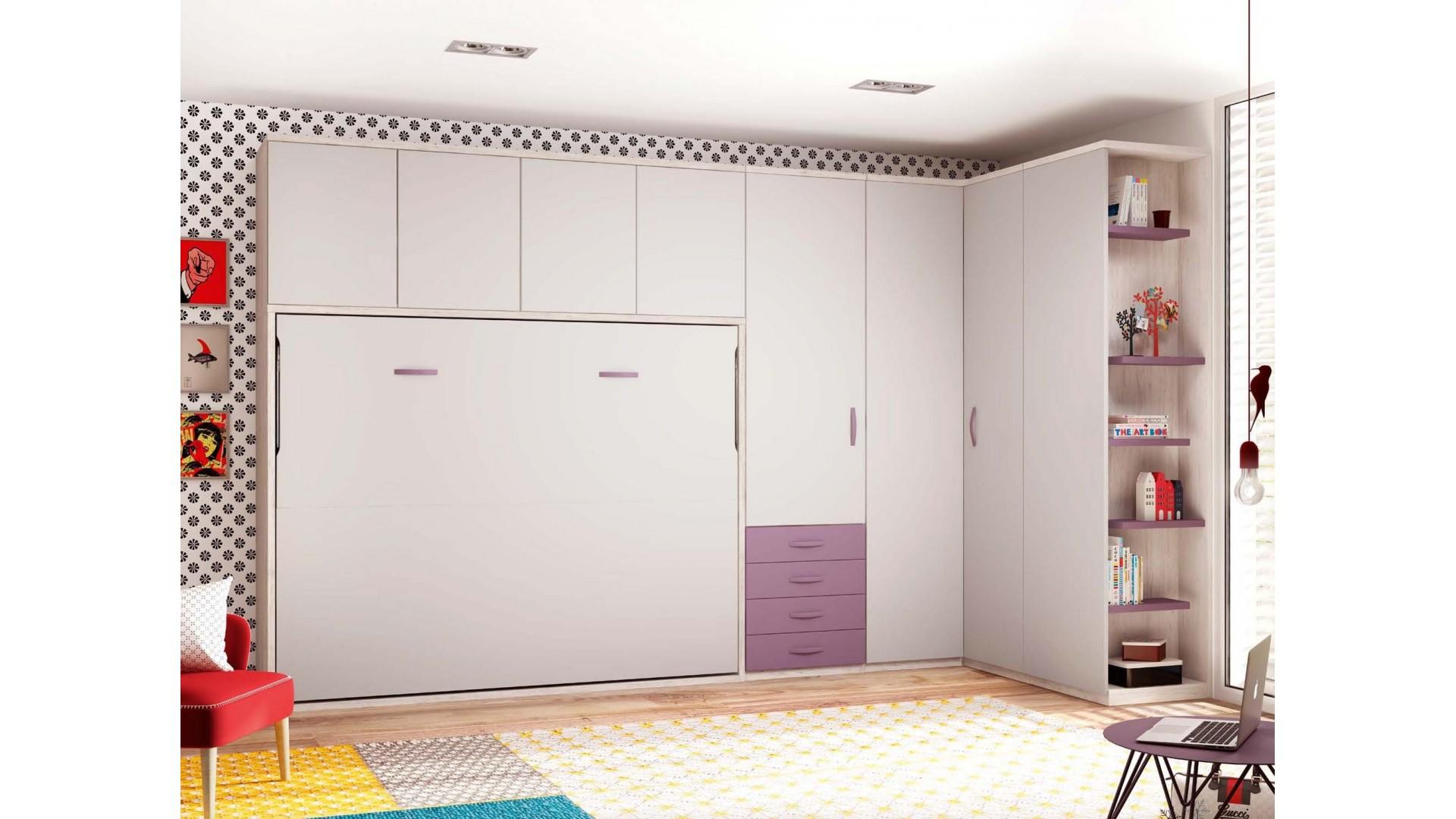 lit armoire pour 2 personnes avec rangement - glicerio - so nuit