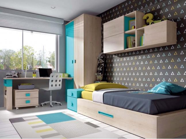 Chambre pour enfant PERSONNALISABLE avec lit gigogne F303 - GLICERIO