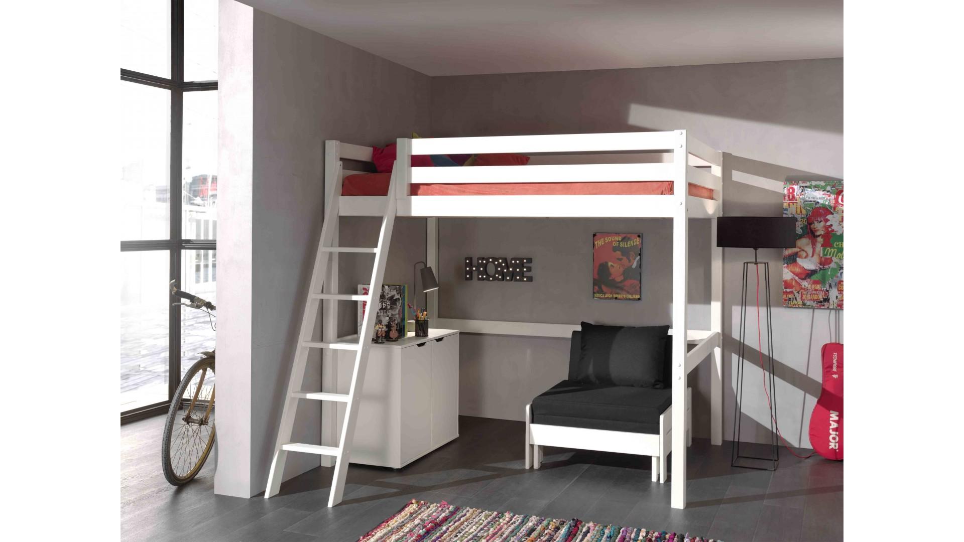 lit mezzanine 140x200 cm clara en pin massif avec sommier. Black Bedroom Furniture Sets. Home Design Ideas