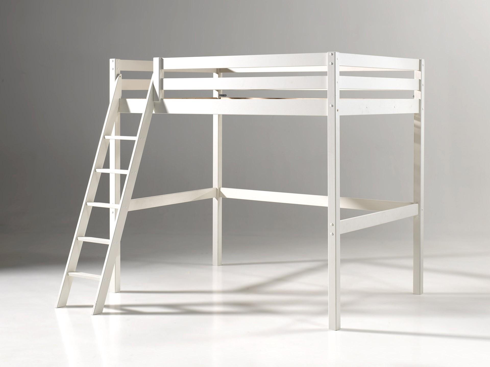 lit mezzanine 140x200 cm clara en pin massif avec sommier so nuit. Black Bedroom Furniture Sets. Home Design Ideas