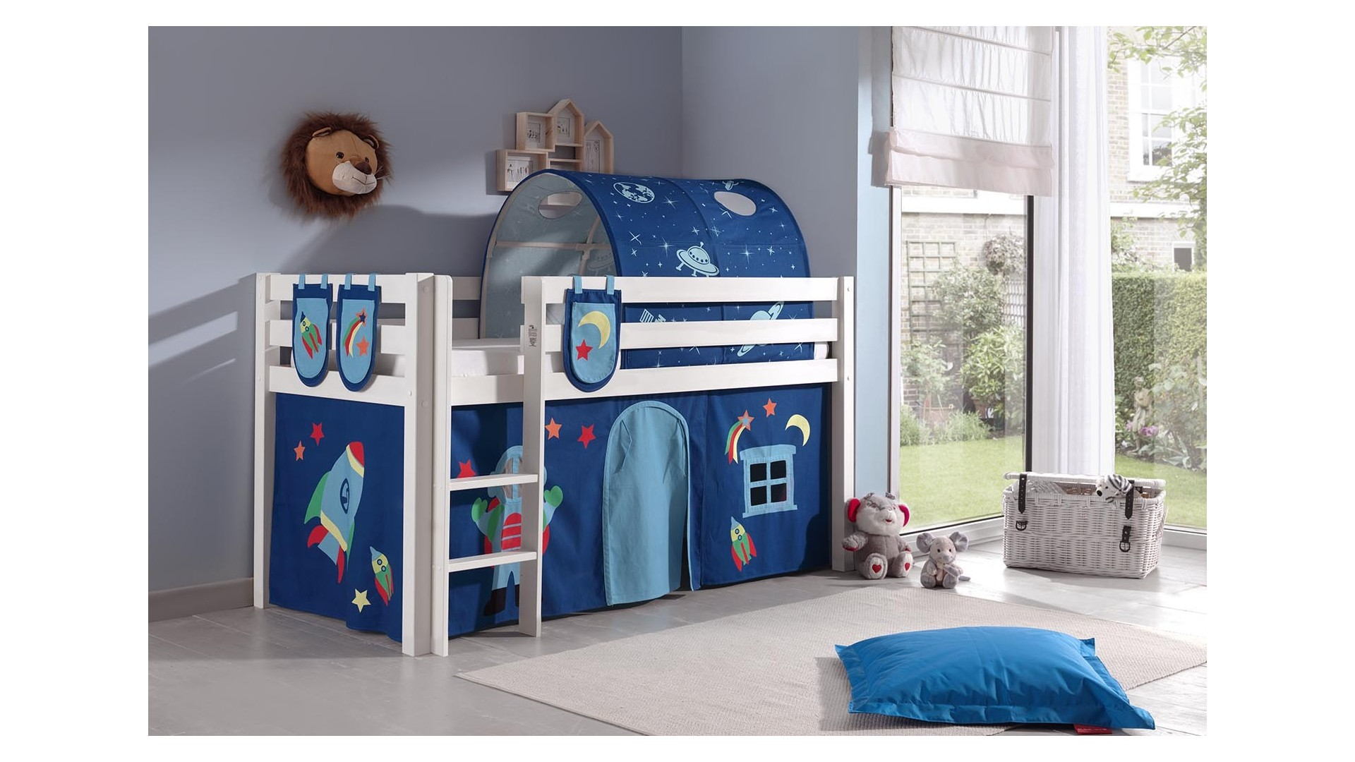 Lit enfant cabane ALICE décor astro couchage 90x200 cm - SONUIT