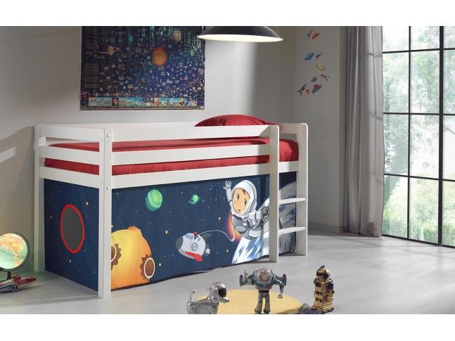 """Lit enfant cabane ALICE décor tissu cabane """"au choix"""" couchage 90x200 cm - SONUIT"""