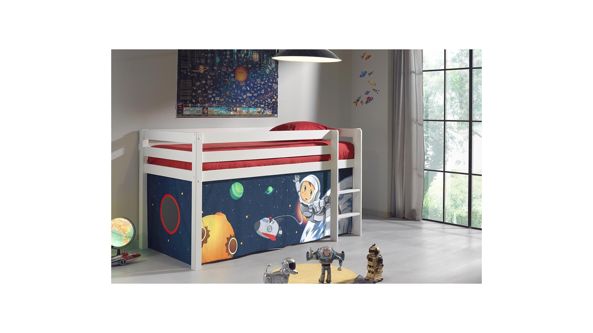 lit enfant cabane alice en pin massif sommier et tissus. Black Bedroom Furniture Sets. Home Design Ideas