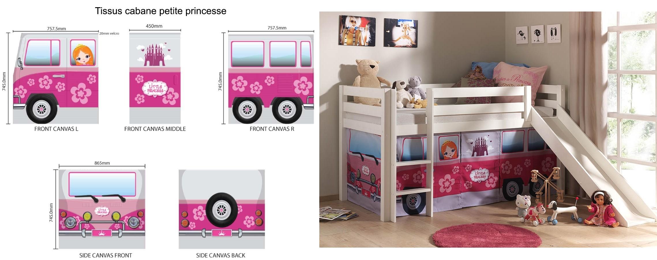 lit cabane toboggan alice en pin massif sommier et tissus so nuit. Black Bedroom Furniture Sets. Home Design Ideas