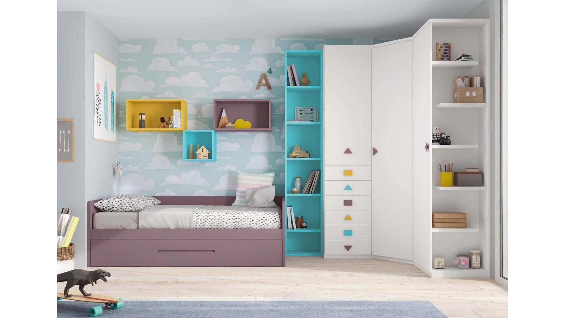 chambre a coucher enfant avec lit gigogne glicerio so nuit. Black Bedroom Furniture Sets. Home Design Ideas