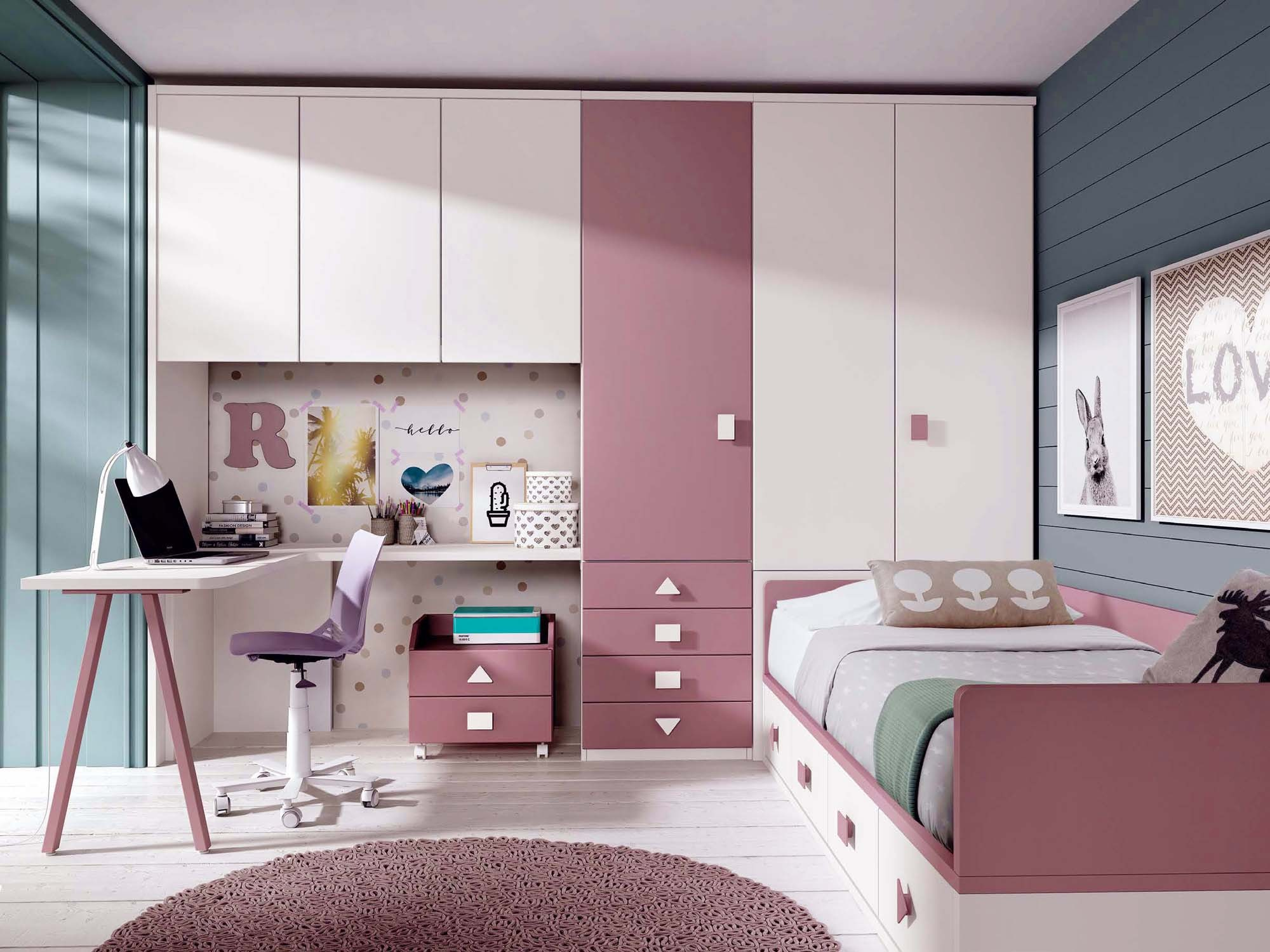 Chambre ado fille avec bureau design glicerio so nuit - Bureau chambre ado ...