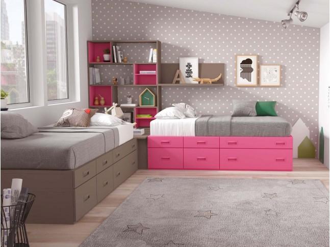 Chambre pour 2 enfants PERSONNALISABLE F312 - GLICERIO