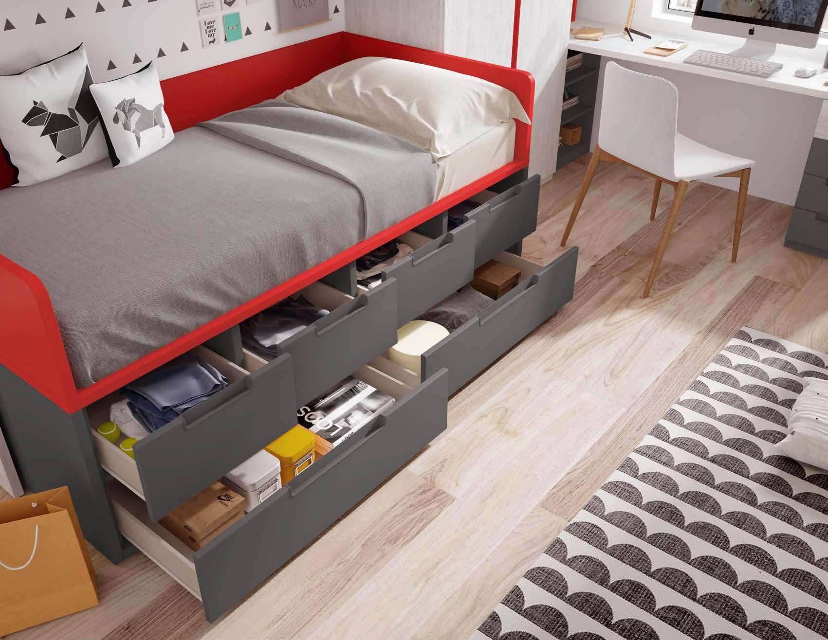 Lit Avec Rangement En Dessous lit 1 place avec rangement et un bureau - glicerio - so nuit