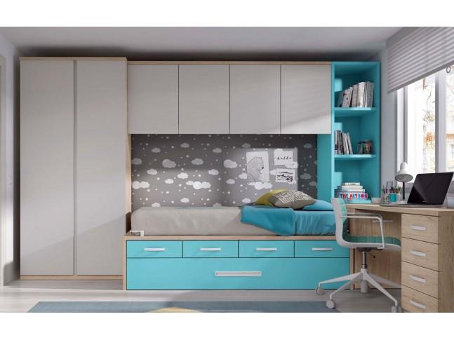 Chambre junior avec lit gigogne et bureau PERSONNALISABLE F032 - GLICERIO