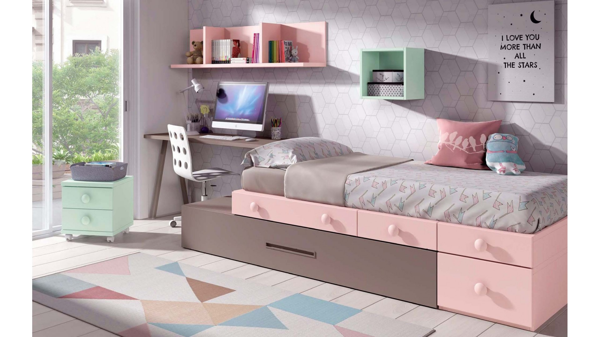 Chambre pour fille avec lit gigogne PERSONNALISABLE F305 - GLICERIO