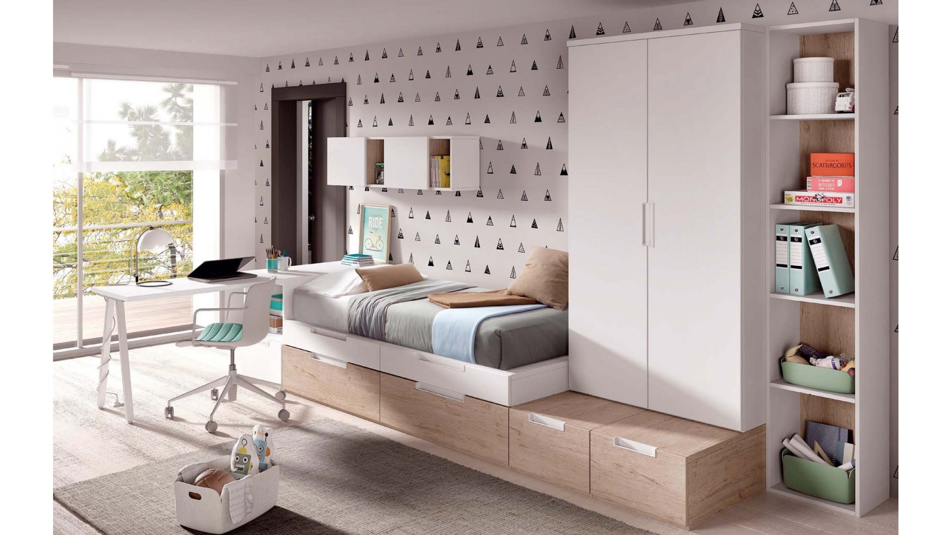 chambre pour garcon avec bureau style architecte. Black Bedroom Furniture Sets. Home Design Ideas