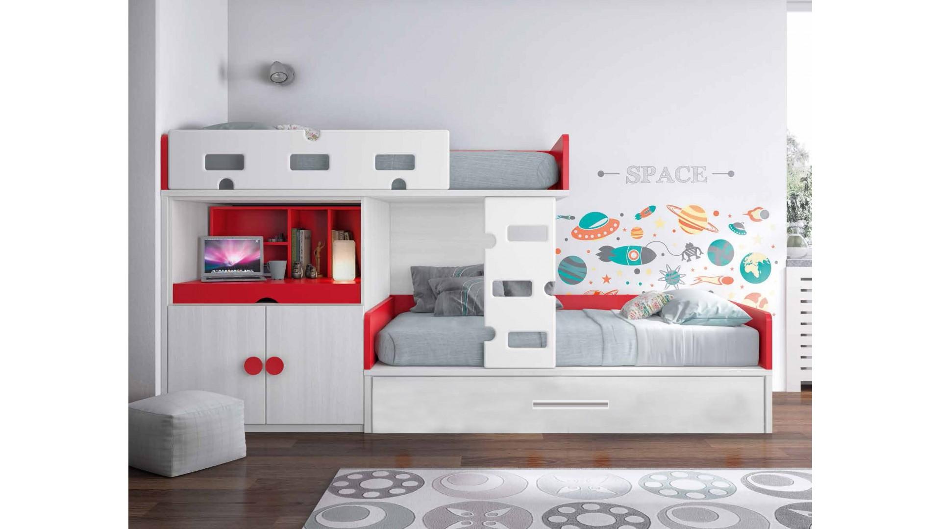 Lit superposé blanc et rouge PERSONNALISABLE F257 avec bureau coulissant - GLICERIO
