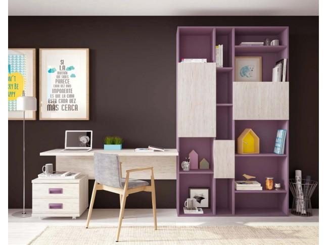 Bibliothèque meuble et bureau PERSONNALISABLES F410 - GLICERIO